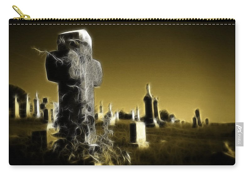 Graveyard Carry-all Pouch featuring the photograph Graveyard 4730 by Timothy Bischoff