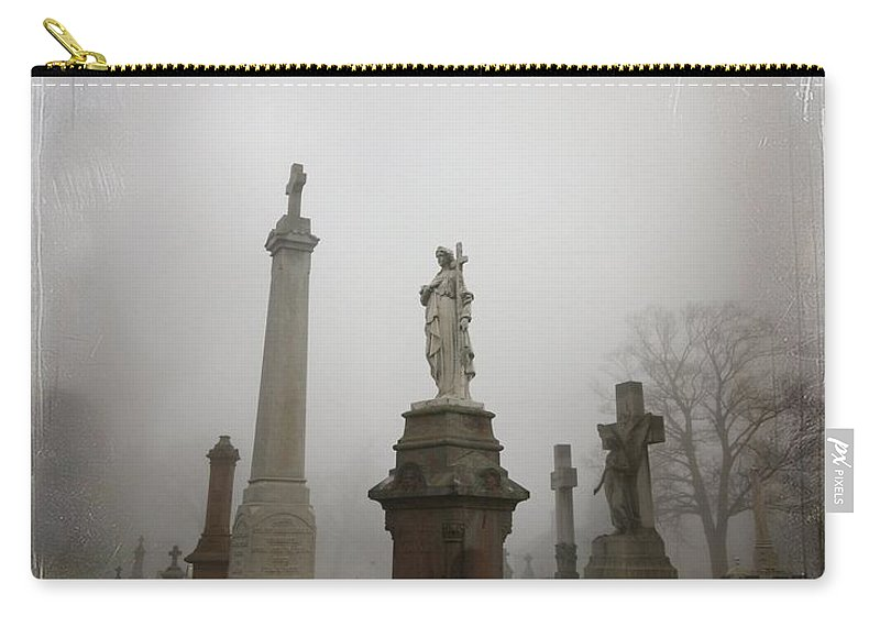 Fog Carry-all Pouch featuring the photograph Graveyard Morning by Gothicrow Images