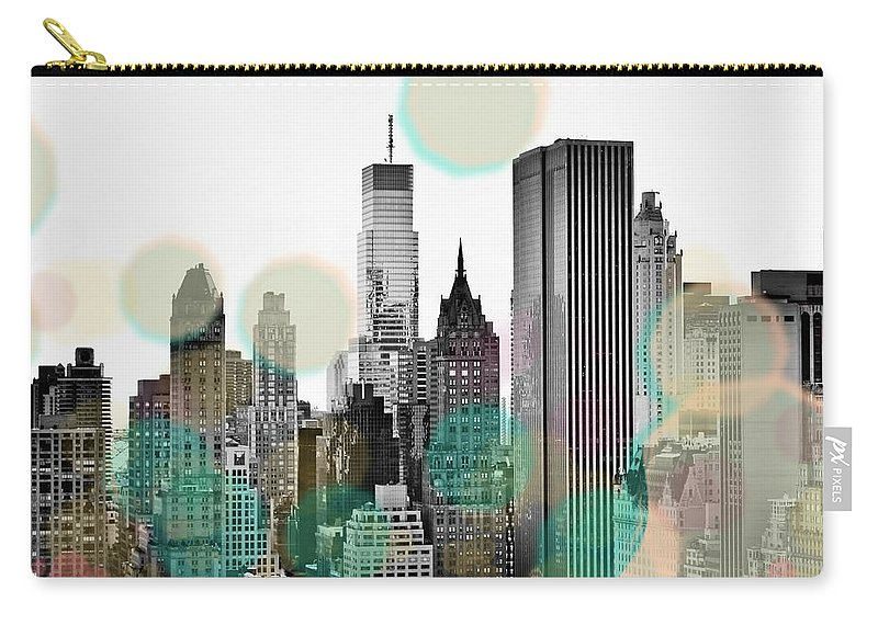 Gray Carry-all Pouch featuring the digital art Gray City Beams by Sundance B