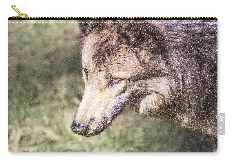 Gray Wolf Carry-all Pouch featuring the digital art Gray Wolf Grey Wolf Canis Lupus by Liz Leyden