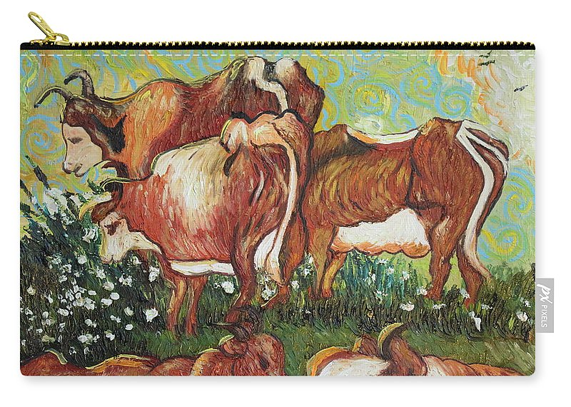 Impressionism Carry-all Pouch featuring the painting Grazing Cows by Stefan Duncan