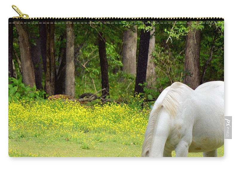 Grazing In Golden Fields Carry-all Pouch featuring the photograph Grazing In Golden Fields by Maria Urso