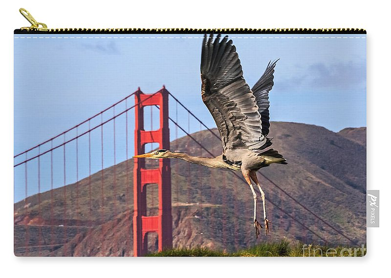 Kate Brown Carry-all Pouch featuring the photograph Great Blue At The Golden Gate by Kate Brown