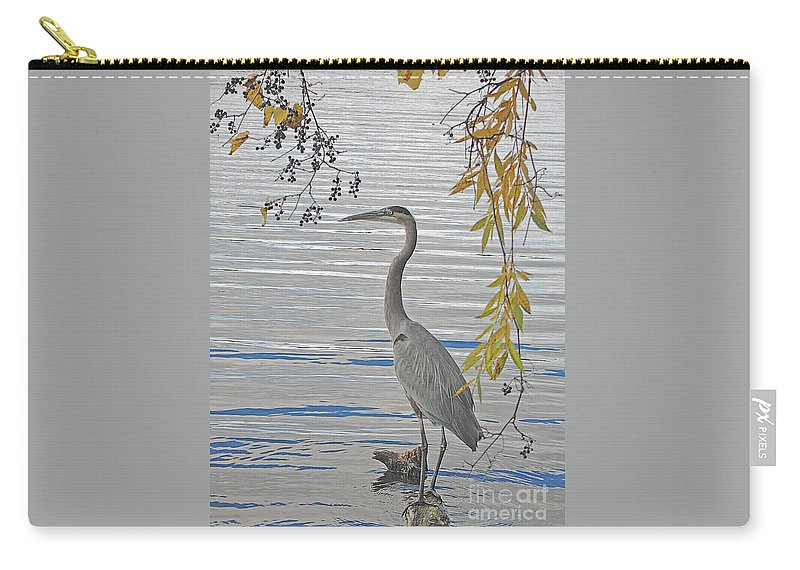 Heron Carry-all Pouch featuring the photograph Great Blue Heron by Ann Horn