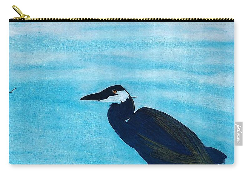 Heron Carry-all Pouch featuring the drawing Great Blue Heron by D Hackett