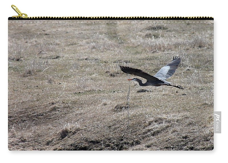 Birds Carry-all Pouch featuring the photograph Great Blue Heron Flight by Wayne Williams