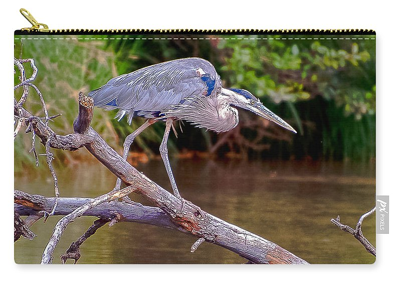Great Blue Heron Carry-all Pouch featuring the photograph Great Blue Heron Oak Creek Canyon Sedona Arizona by Bob and Nadine Johnston