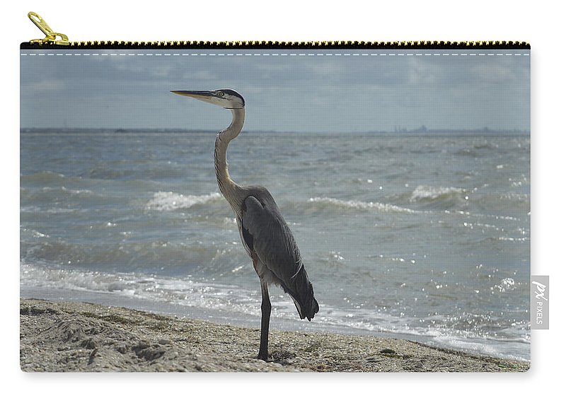 Blue Carry-all Pouch featuring the photograph Great Blue Heron Standing Tall by Leticia Latocki