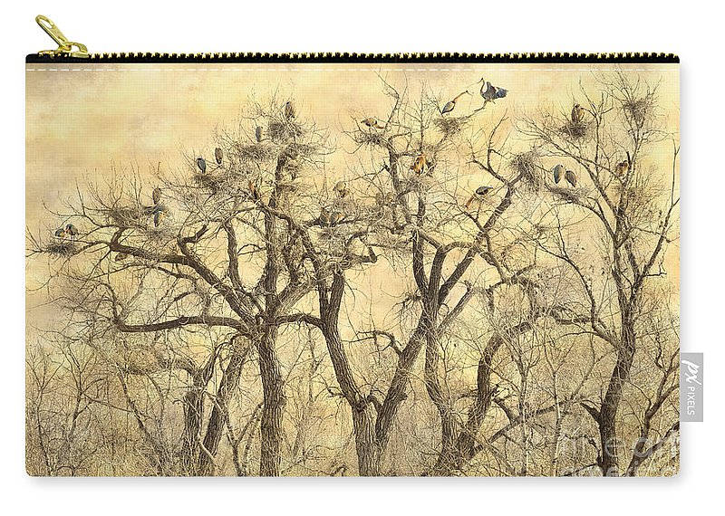 Animals Carry-all Pouch featuring the photograph Great Blue Herons Colonies Fine Art by James BO Insogna