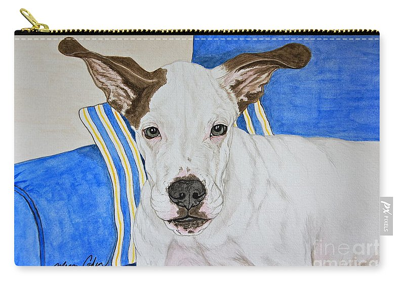 Zane The Dane Carry-all Pouch featuring the painting Zane The Dane by Megan Cohen