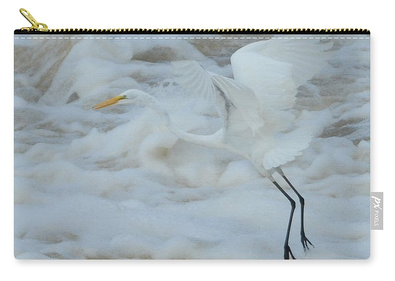 Bird Carry-all Pouch featuring the photograph Egret Above Cloud Or Water by Dot Rambin