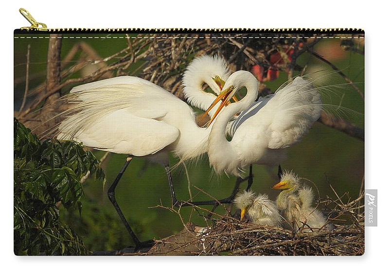 Great Egret Carry-all Pouch featuring the photograph Great Egret 2am-7177 by Andrew McInnes