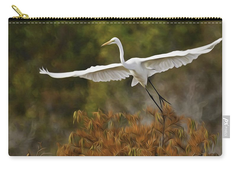 Pixel Bender Carry-all Pouch featuring the photograph Great Egret Pixelated by James Ekstrom