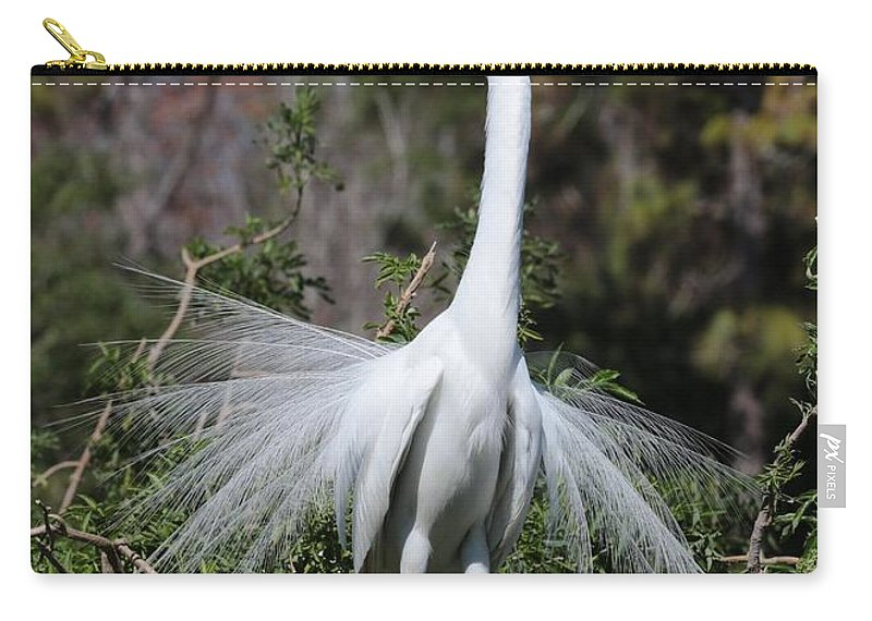 Egret Carry-all Pouch featuring the photograph Great Egret Showoff by Carol Groenen