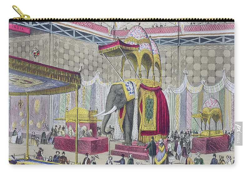 Elephant Carry-all Pouch featuring the drawing Great Exhibition, 1851 Indian by English School