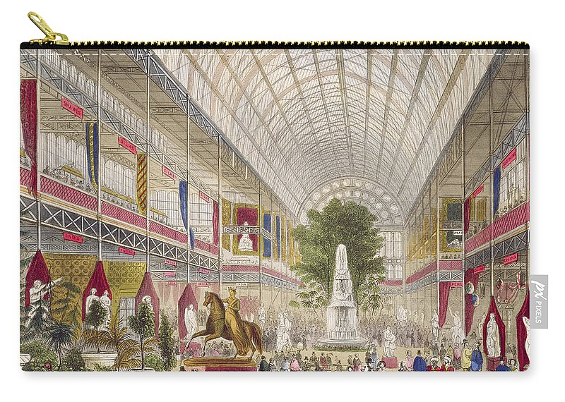 Fountain Carry-all Pouch featuring the painting Great Exhibition, 1851 South Transept by English School