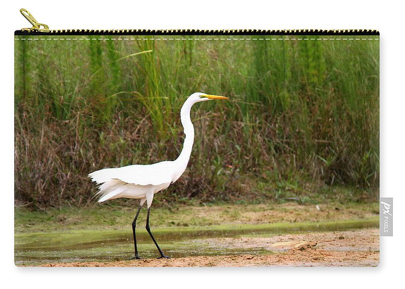 White Carry-all Pouch featuring the photograph Great Heron by Travis Truelove