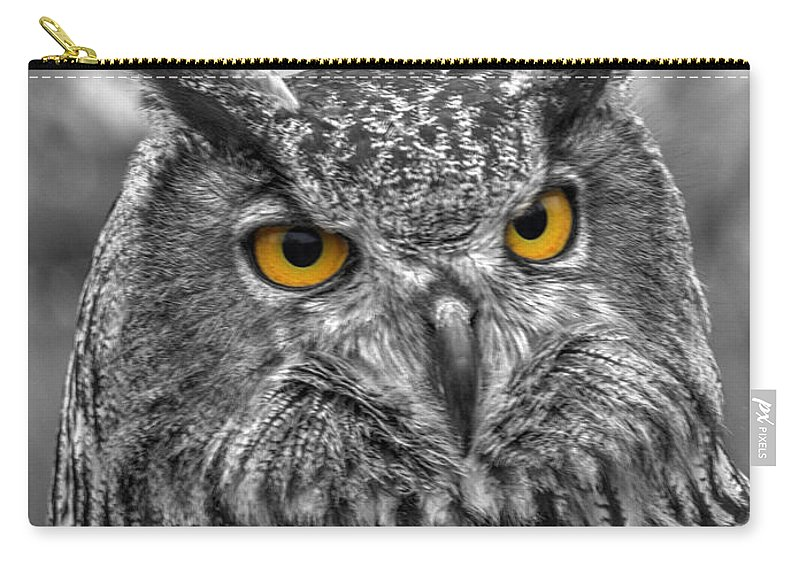Great Horned Owl Carry-all Pouch featuring the photograph Great Horned Owl V9 by John Straton