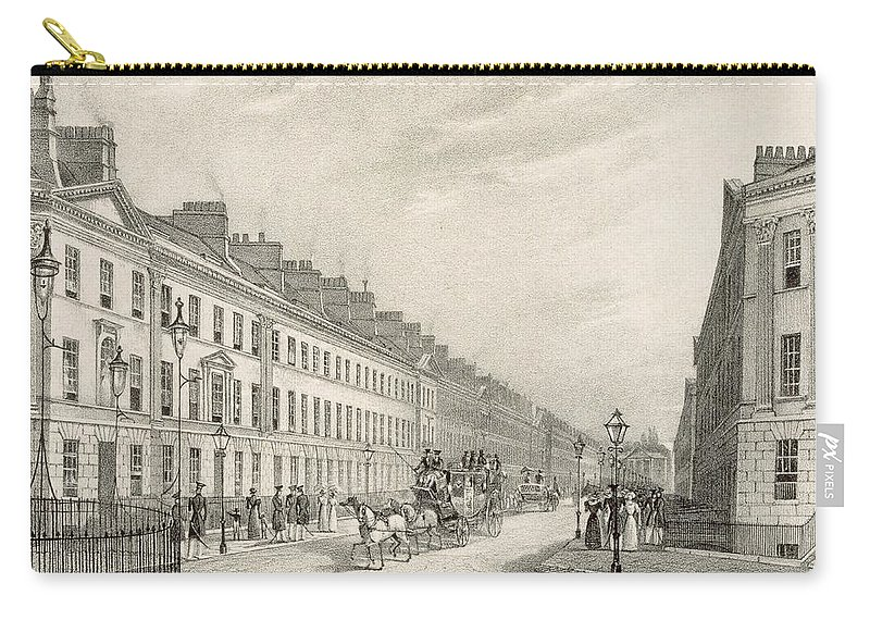 Views Carry-all Pouch featuring the drawing Great Pultney Street, Bath, C.1883 by R. Woodroffe