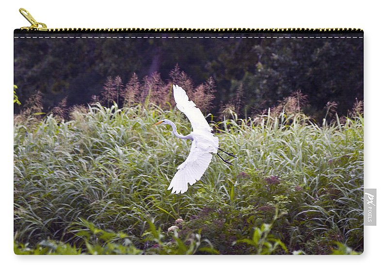 Great Blue Heron Photographs Carry-all Pouch featuring the photograph Great White Egret Flying 2 by Vernis Maxwell