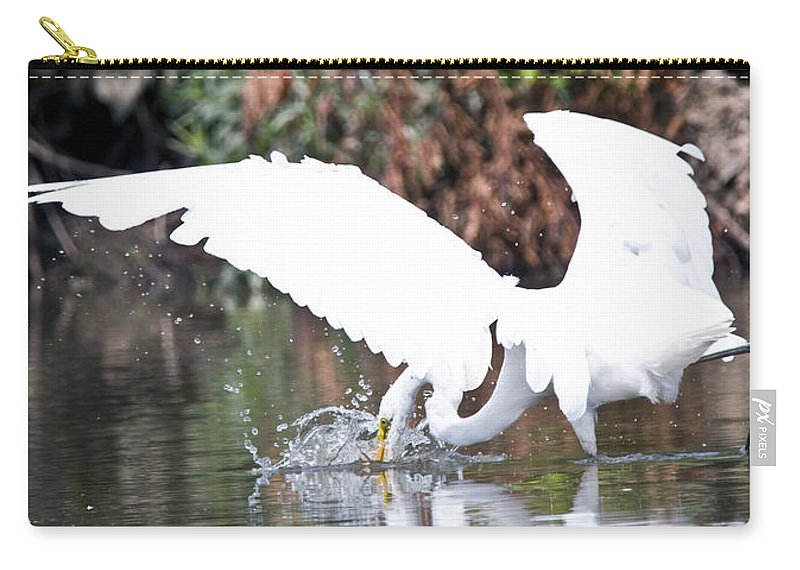 Great Blue Heron Photographs Carry-all Pouch featuring the photograph Great White Egret Splash 1 by Vernis Maxwell