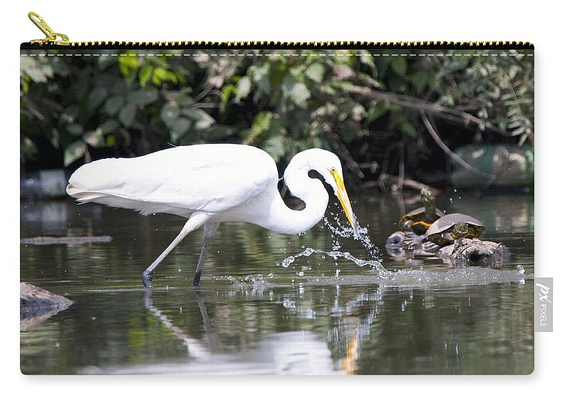 Great Blue Heron Photographs Carry-all Pouch featuring the photograph Great White Egret Splash 2 by Vernis Maxwell