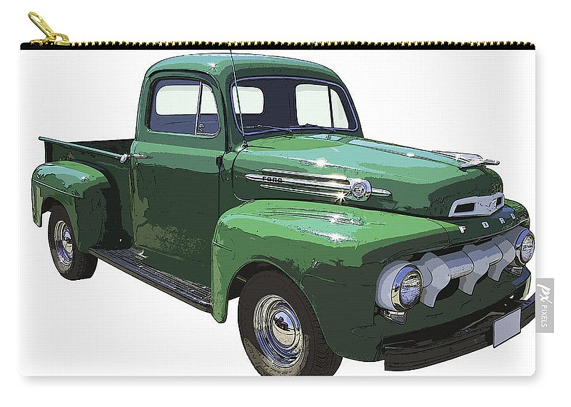 1951 Ford F-1 Pick Up Carry-all Pouch featuring the photograph Green 1951 Ford F-1 Pick Up Truck Illustration by Keith Webber Jr