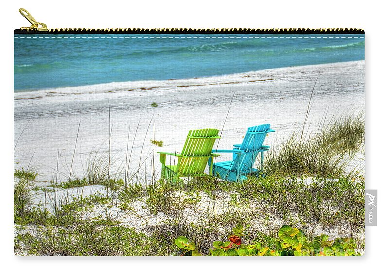 Chairs Carry-all Pouch featuring the photograph Green And Blue Chairs by Debbi Granruth