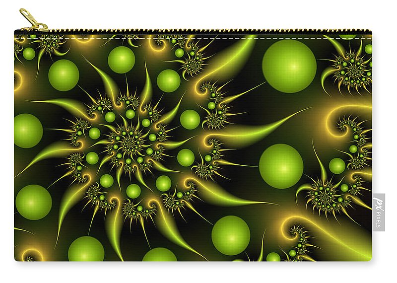 Fractal Carry-all Pouch featuring the digital art Green And Gold by Gabiw Art