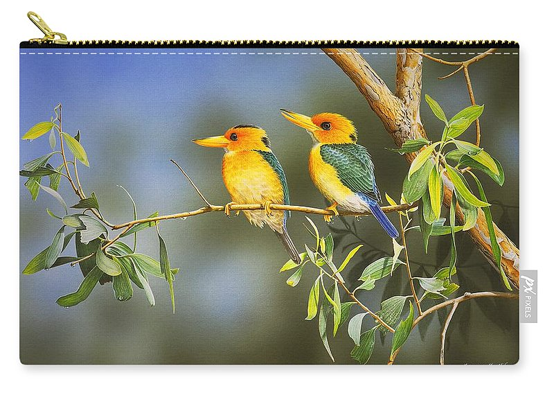 Gum Trees Carry-all Pouch featuring the painting Green And Gold - Yellow-billed Kingfishers by Frances McMahon