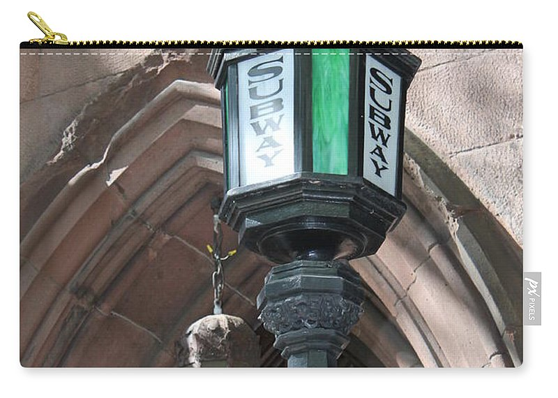 Subway Station Carry-all Pouch featuring the photograph Green And White by Catie Canetti