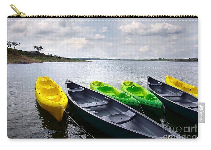 Activity Carry-all Pouch featuring the photograph Green And Yellow Kayaks by Carlos Caetano