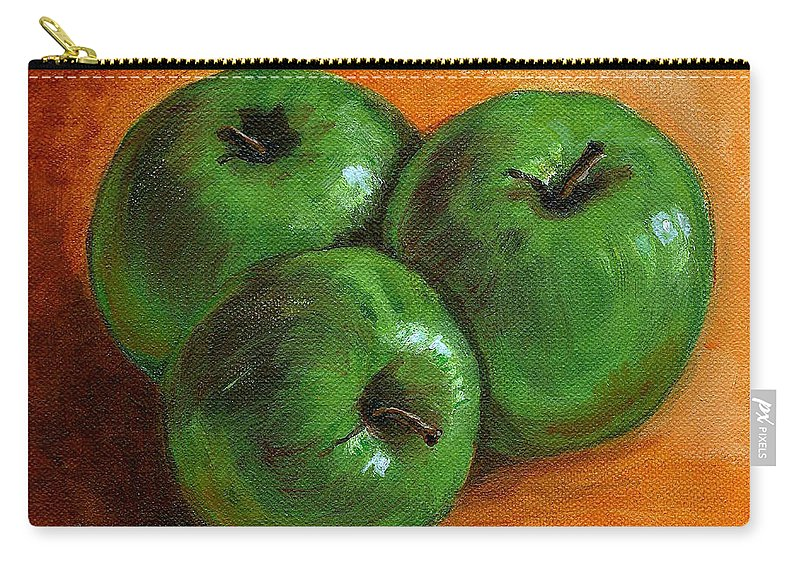 Apples Carry-all Pouch featuring the painting Green Apples by Asha Sudhaker Shenoy