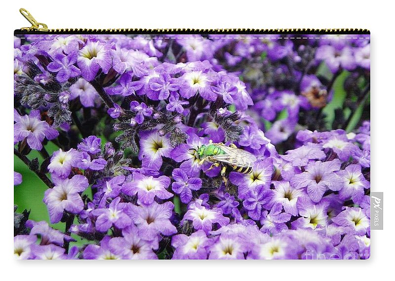 Green Bee Carry-all Pouch featuring the photograph Green Bee Tiny Pollinator by Renee Croushore