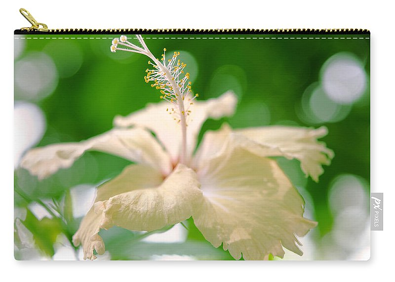 Hibiscus Carry-all Pouch featuring the photograph Green Bubble Dream by Jenny Rainbow