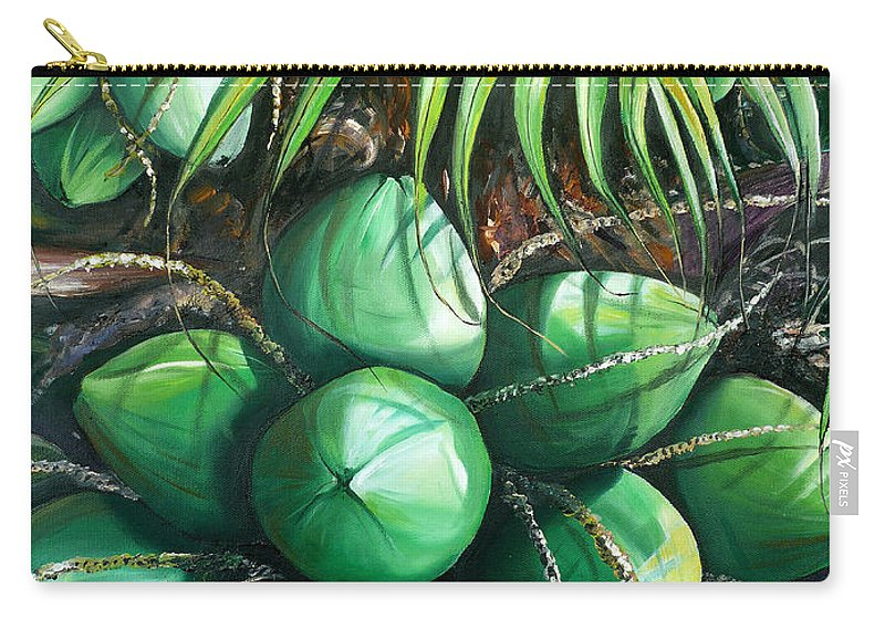 Tropical Painting Caribbean Painting Green Painting Palm Tree Painting Greeting Card Painting Botanical Painting Tree Painting Carry-all Pouch featuring the painting Green Coconuts 3 Sold by Karin Dawn Kelshall- Best