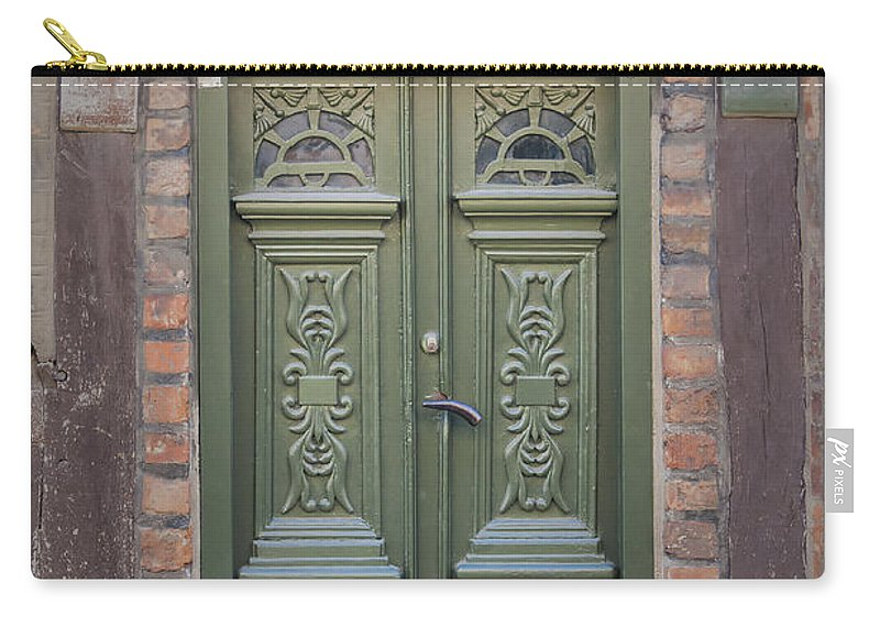 Ystad Carry-all Pouch featuring the photograph Green Door Ystad by Antony McAulay