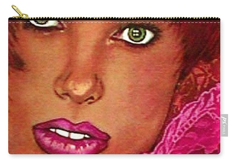 Portrait Carry-all Pouch featuring the pastel Green Eyed Redhead by Ellen Cannon