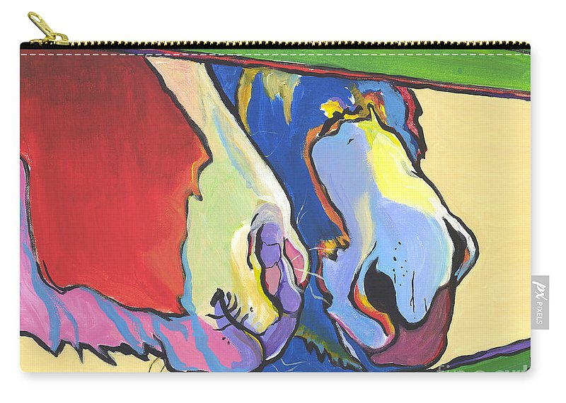 Pat Saunders-white Canvas Prints Carry-all Pouch featuring the painting Green Fence by Pat Saunders-White