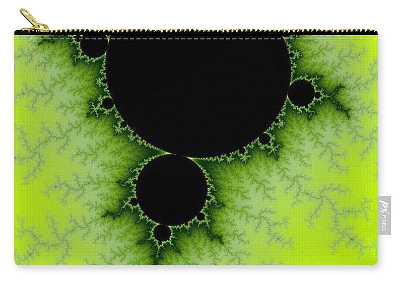 Fractal Carry-all Pouch featuring the digital art Green Fractal by Henrik Lehnerer
