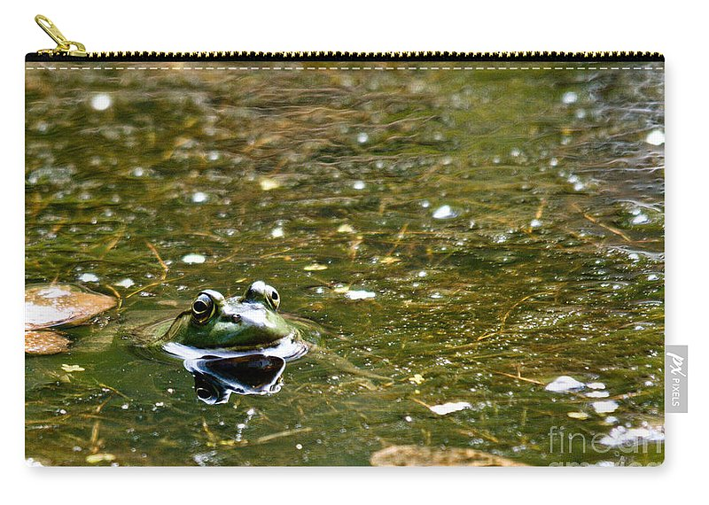 Frog Carry-all Pouch featuring the photograph Green Friend by Cheryl Baxter