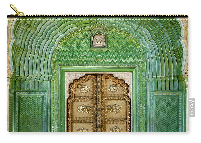 Arch Carry-all Pouch featuring the photograph Green Gate In Pitam Niwas Chowk by Hakat