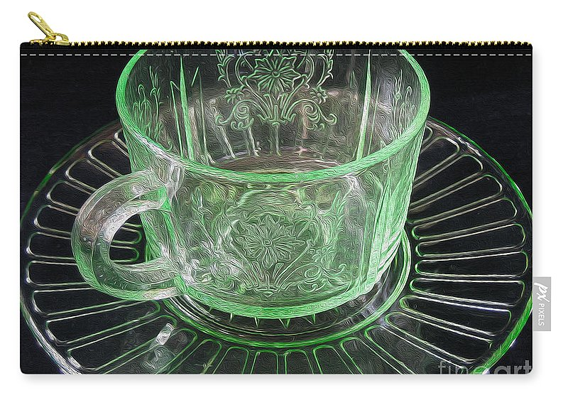 Green Carry-all Pouch featuring the photograph Green Glass Cup And Saucer by Nina Silver