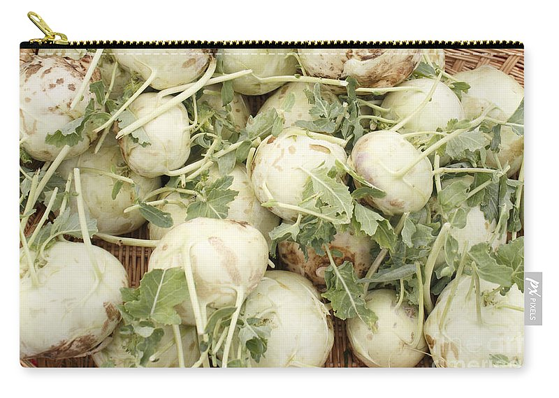 Green Carry-all Pouch featuring the photograph Green Kohlrabi Basket Display by Lee Serenethos