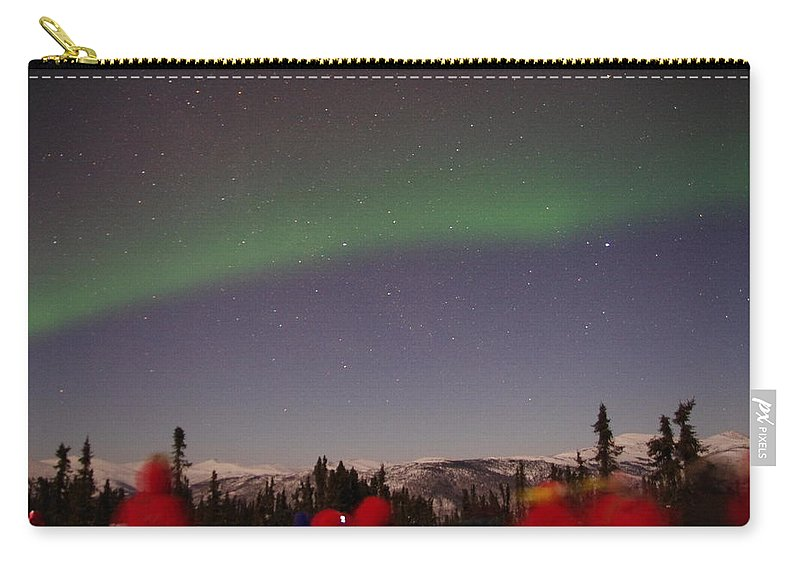 Alaska Aurora Borealis Carry-all Pouch featuring the photograph Green Lady Dancing 45 by Phyllis Spoor
