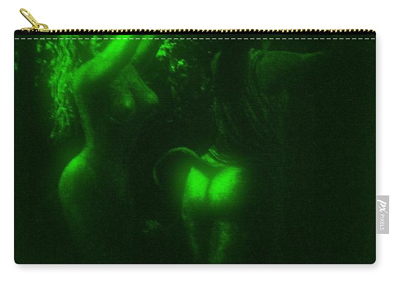 Genio Carry-all Pouch featuring the mixed media Green Light On Wood Nymphs by Genio GgXpress
