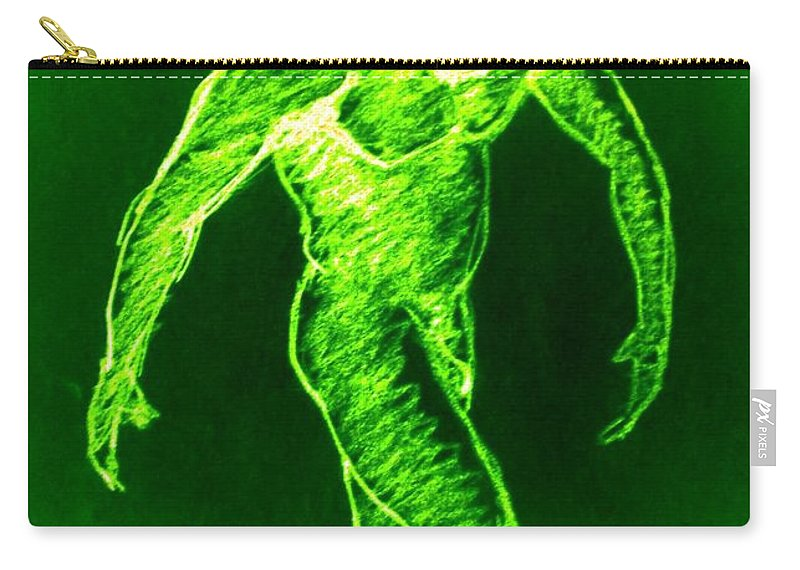 Genio Carry-all Pouch featuring the mixed media Green Man Arises by Genio GgXpress