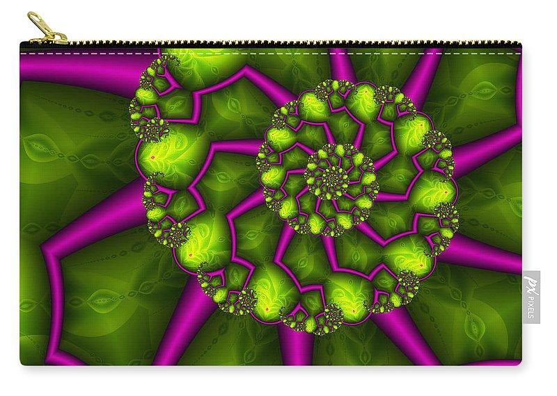 Digital Art Carry-all Pouch featuring the digital art Green Meets Magenta by Gabiw Art
