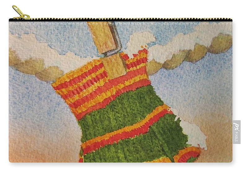 Children Carry-all Pouch featuring the painting Green Mittens by Mary Ellen Mueller Legault