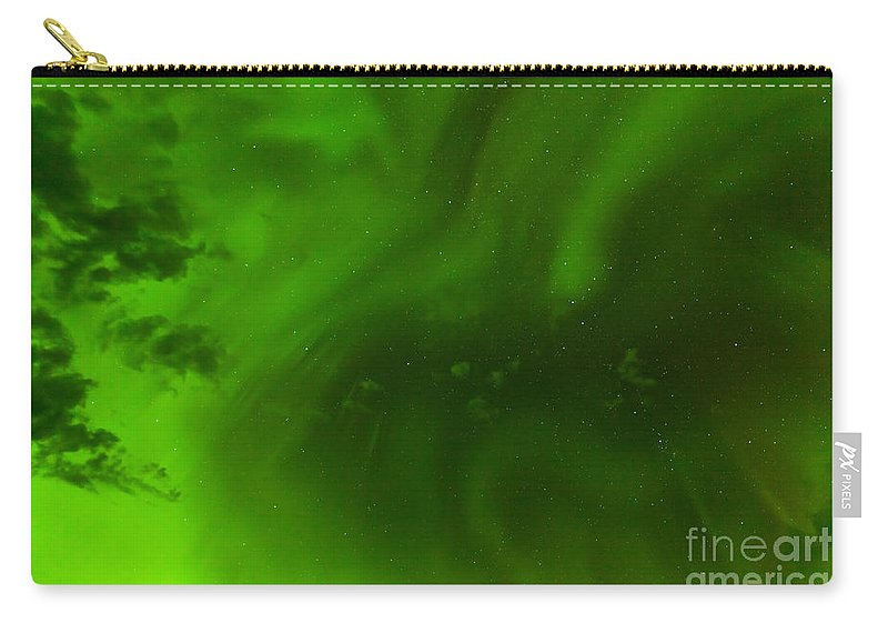 Abstract Carry-all Pouch featuring the photograph Green Northern Lights Night Sky Abstract Backdrop by Stephan Pietzko